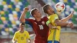 Sweden's Mattias Andersson controls the ball