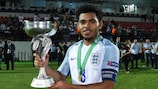 Jay DaSilva with the UEFA European Under-19 Championship trophy after England's victory in the final