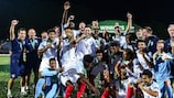 England players and staff enjoy their final victory against Portugal