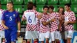 Croatia celebrate scoring in their win in Moldova