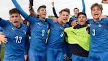 Italy celebrate qualifying from the elite round