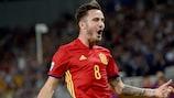 L'esultanza dello spagnolo Saúl Ñíguez dopo il gol contro l'Italia nella semifinale del 2017