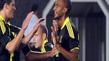 Liverpool celebrate a David Ngog goal against Rabotnicki