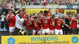 Benfica celebrate with the trophy
