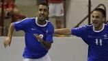 Kamel Hamdoud celebrates his goal that sent France into the qualifying round