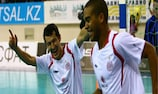 Dinmukhambet Suleimenov (left) with Brazilian team-mate Leo Santana