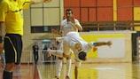 Ekonomac's Vidan Bojović celebrates scoring in the 5-3 defeat of Uragan as Daniel De Souza looks on