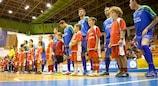 Târgu Mureş line up before facing Marca Futsal in the main round
