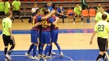 Barcelona celebrate during their 12-0 main round defeat of Nikars Riga