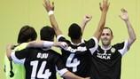 João Benedito, Buiu, Marcelo Silva and Leitão celebrate a Sporting goal