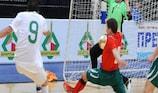 Portugal's Gonçalo shoots for goal against Belarus