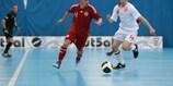 Denmark's Andreas Birkedal (left) takes on England goalscorer David Jennings on Saturday