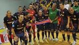 El Barcelona celebra su decisiva victoria ante el Litija