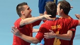 Spain celebrate during their FIFA Futsal World Cup semi-final win against Italy in Bangkok