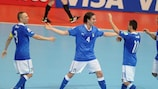 Italy celebrate a goal during the FIFA Futsal World Cup bronze medal match against Colombia