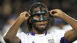 Dieudonné Mbokani wearing a face mask in last season's UEFA Champions League group stage