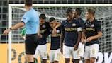 PSV celebrate a European goal