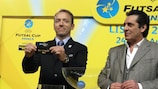 UEFA Futsal Cup ambassador Paulo Futre (right) assists with the draw