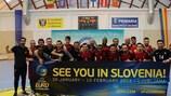 Portugal festeja após garantir a qualificação para o UEFA Futsal EURO 2018