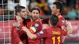 Los jugadores de España celebran uno de los goles ante Malta