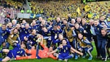 Sweden celebrate on the pitch in Romania