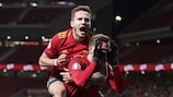 MADRID, SPAIN - NOVEMBER 18: Saul Niguez celebrates his sides first goal with goalscorer Fabian Ruiz of Spain during the UEFA Euro 2020 Qualifier between Spain and Romania on November 18, 2019 in Madrid, Spain. (Photo by Gonzalo Arroyo - UEFA/UEFA via Getty Images )