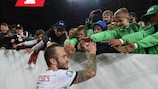 BUDAPEST, HUNGARY - OCTOBER 13: Gergo Lovrencsics of Hungary celebrates with young fans after Hungary beat Azerbaijan 1-0 in the UEFA Euro 2020 qualifier between Hungary and Azerbaijan on October 13, 2019 in Budapest, Hungary. (Photo by Denis Doyle - UEFA/UEFA via Getty Images)