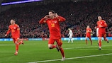 Wales' Aaron Ramsey celebrates scoring his team's first goal during the Group E Euro 2020 football qualification match between Wales and HUngary at Cardiff City Stadium in Cardiff, Wales on November 19, 2019. (Photo by Paul ELLIS / AFP) (Photo by PAUL ELLIS/AFP via Getty Images)