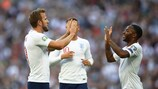 LONDON, ENGLAND - SEPTEMBER 07: Raheem Sterling of England congratulates Harry Kane after scoring during the UEFA Euro 2020 qualifier match between England and Bulgaria at Wembley Stadium on September 07, 2019 in London, England. (Photo by Julian Finney/Getty Images)