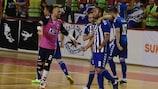 Shkupi celebrate scoring in their decisive win against Lokomotiv Daugavpils