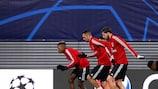 O Benfica prepara-se para defrontar o Leipzig