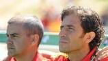 Lo sguardo del Ct della Spagna, Luis Milla, prima della vittoria della sua squadra contro la Croazia