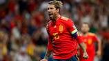 Sergio Ramos festeja uno de los 21 goles que ha marcado con España