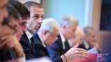 UEFA President Aleksander Čeferin speaks at the UEFA Executive Committee meeting in Nyon