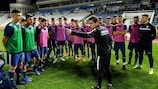 In a practical session, coach educators watched Anorthosis Famagusta FC head coach Marcos Spanos leading a training session for the club's young players