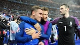 Antoine Griezmann, Yoann Cabaye and Hugo Lloris of France celebrate the 5-2 victory against Iceland in the UEFA EURO 2016 quarter-finals