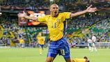 Henrik Larsson of Sweden celebrates after scoring in the 5-0 win against Bulgaria at UEFA EURO 2004