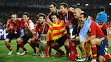 Spain celebrate after successfully defending their title in 2012