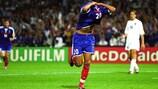 David Trezeguet of France celebrates his golden goal against Italy in the UEFA EURO 2000 final