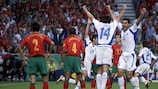 Greece celebrate as the final whistle blows in the final of UEFA EURO 2004