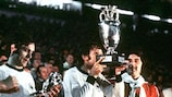 Antonín Panenka kisses the Henri Delaunay trophy following Czechoslovakia's defeat of West Germany in the 1976 UEFA European Championship final