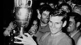 Captain Giacinto Facchetti with the trophy after Italy's 2-0 win against Yugoslavia in the 1968 UEFA European Championship final