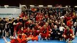 Сборная Бельгии празднует победу в группе
