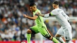 City's Sergio Agüero (left) tries to get away from Real Madrid's Sergio Ramos during the 2016 semi-final second leg