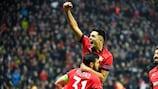 Kevin Volland celebrates Leverkusen's win against Atlético Madrid in the autumn