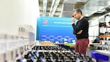 Antonio Giachino oversees preparations for the UEFA Champions League round of 16 draw