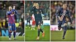 Robert Lewandowski (au centre) devance Lionel Messi (à gauche) et Kylian Mbappé