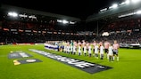 PSV and LASK Linz hear the UEFA Europa League anthem ahead of their group meeting in 2019