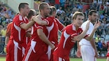 Ekranas captain Ignas Dedura celebrates scoring early on against Valletta
