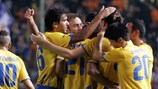 APOEL celebrate one of their four goals on Wednesday against Skënderbeu